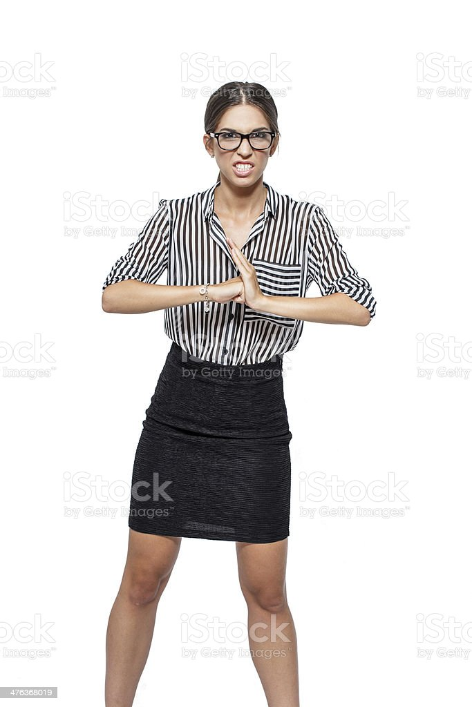 Caucasian businesswoman ready for a fight royalty-free stock photo