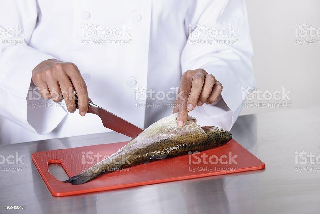 Caucasian Chef Peparing Fish royalty-free stock photo