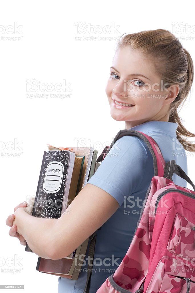 Caucasian college student with backpack copybooks royalty-free stock photo
