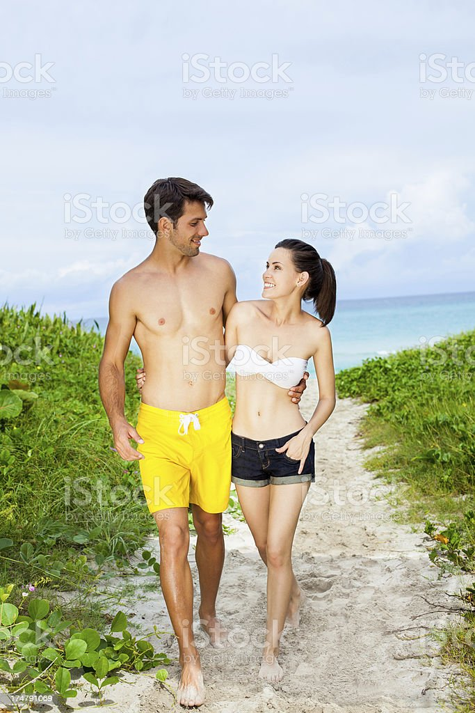Caucasian couple on vacations royalty-free stock photo