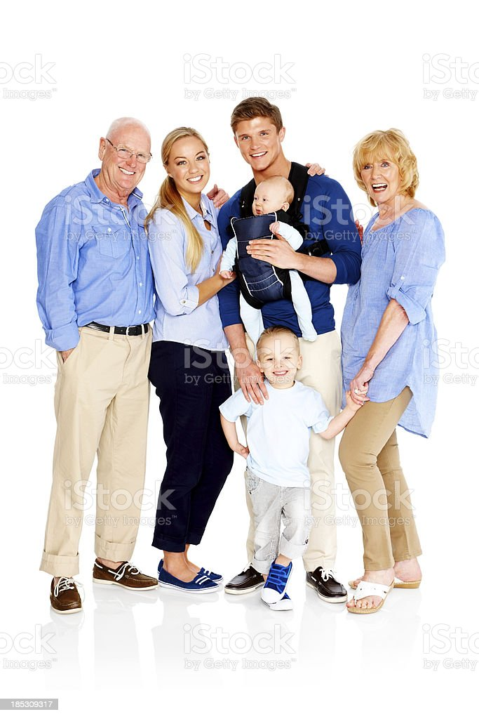 Caucasian family standing on white background royalty-free stock photo