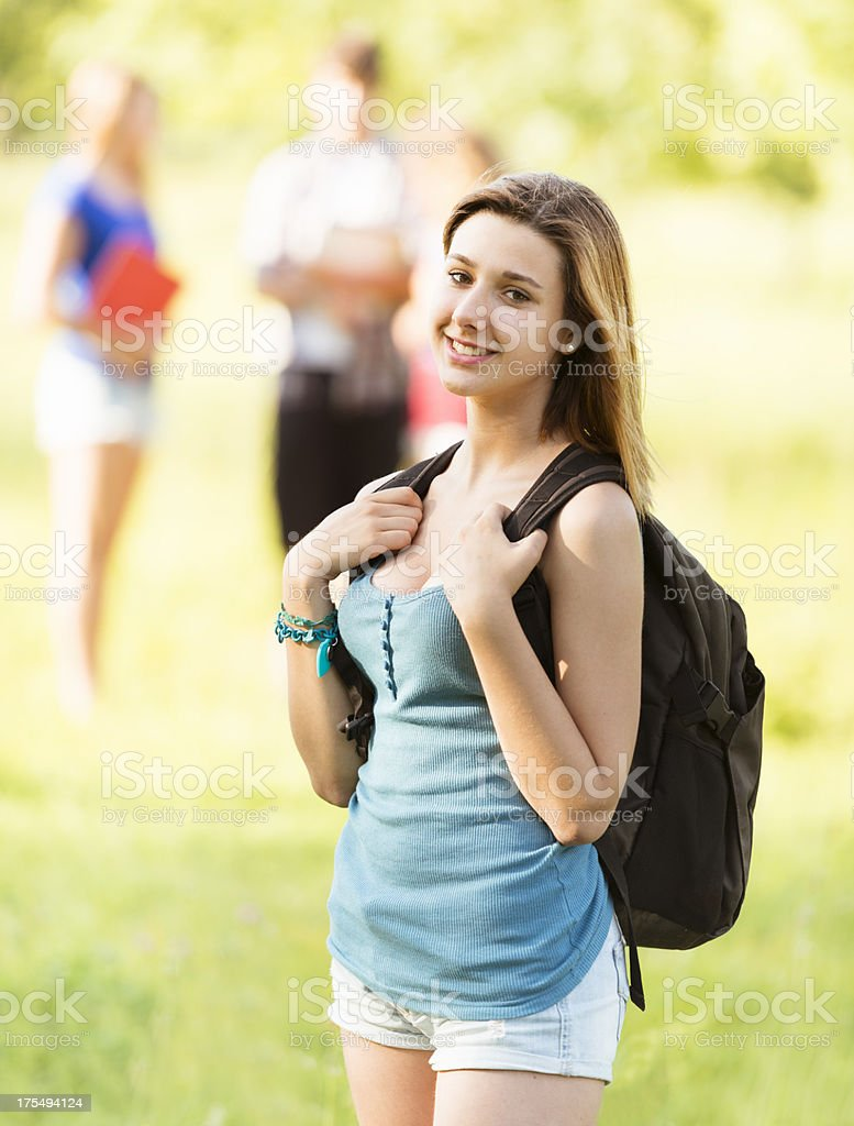 Caucasian female college student outdoors royalty-free stock photo