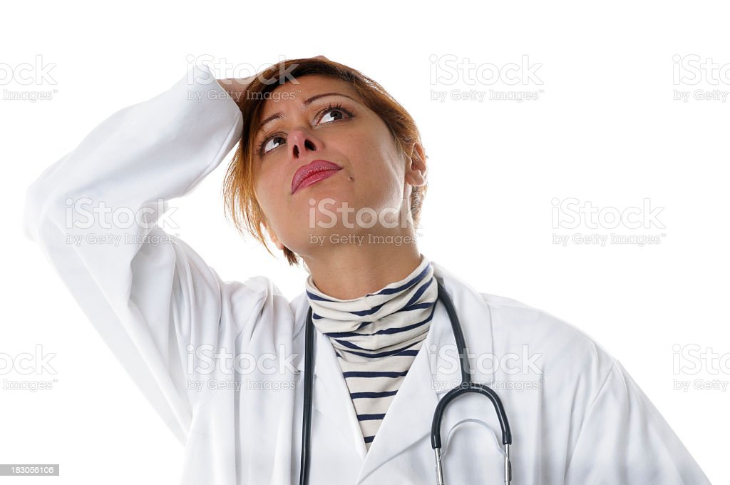 Caucasian Female Holding Her Head Looking Stressed stock photo