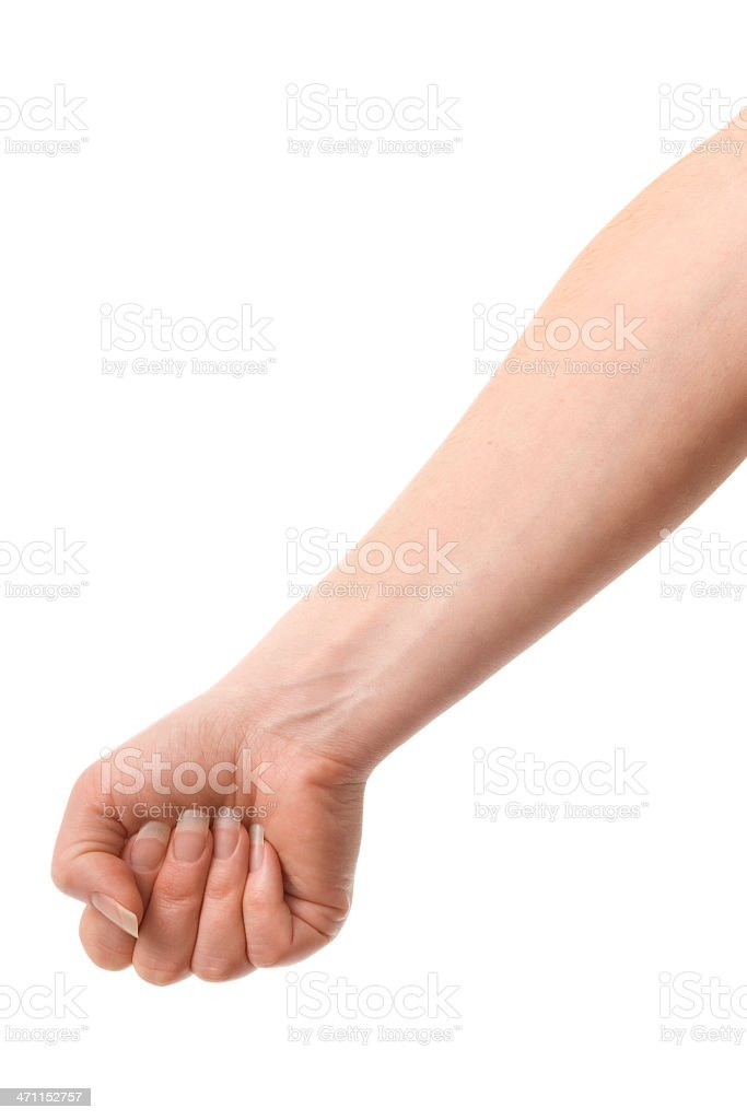 Caucasian female with arm extended to depict holding a bag stock photo