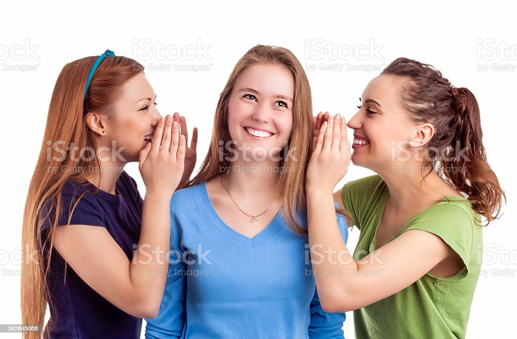 Caucasian Females Sharing Secrets and Rumoring To each Other stock photo