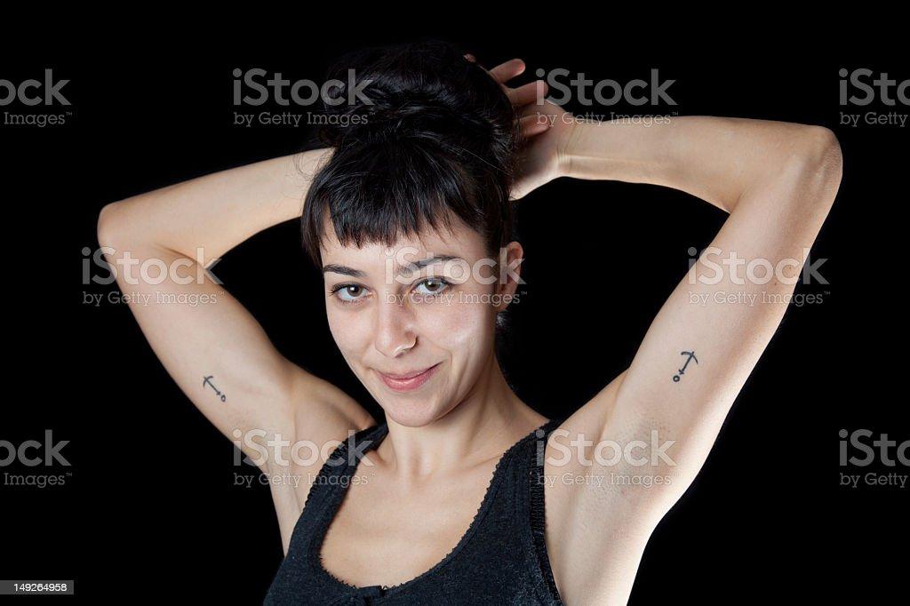 Caucasian fitness girl stock photo