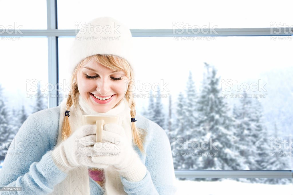 Caucasian girl drinking coffee royalty-free stock photo