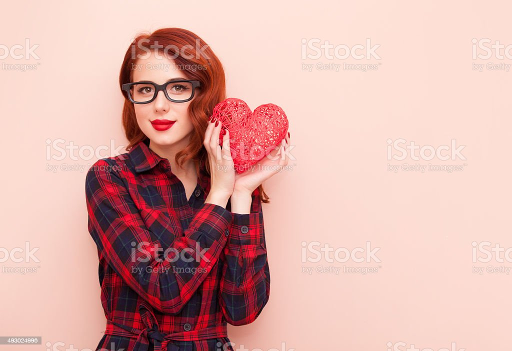 caucasian girl with gift stock photo
