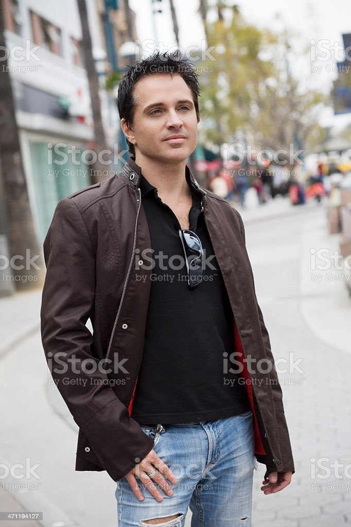 Caucasian Handsome, Fashionable Man on Downtown LA Sidewalk royalty-free stock photo