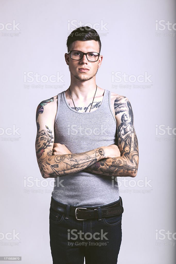 Caucasian Hipster Tattooed Man royalty-free stock photo