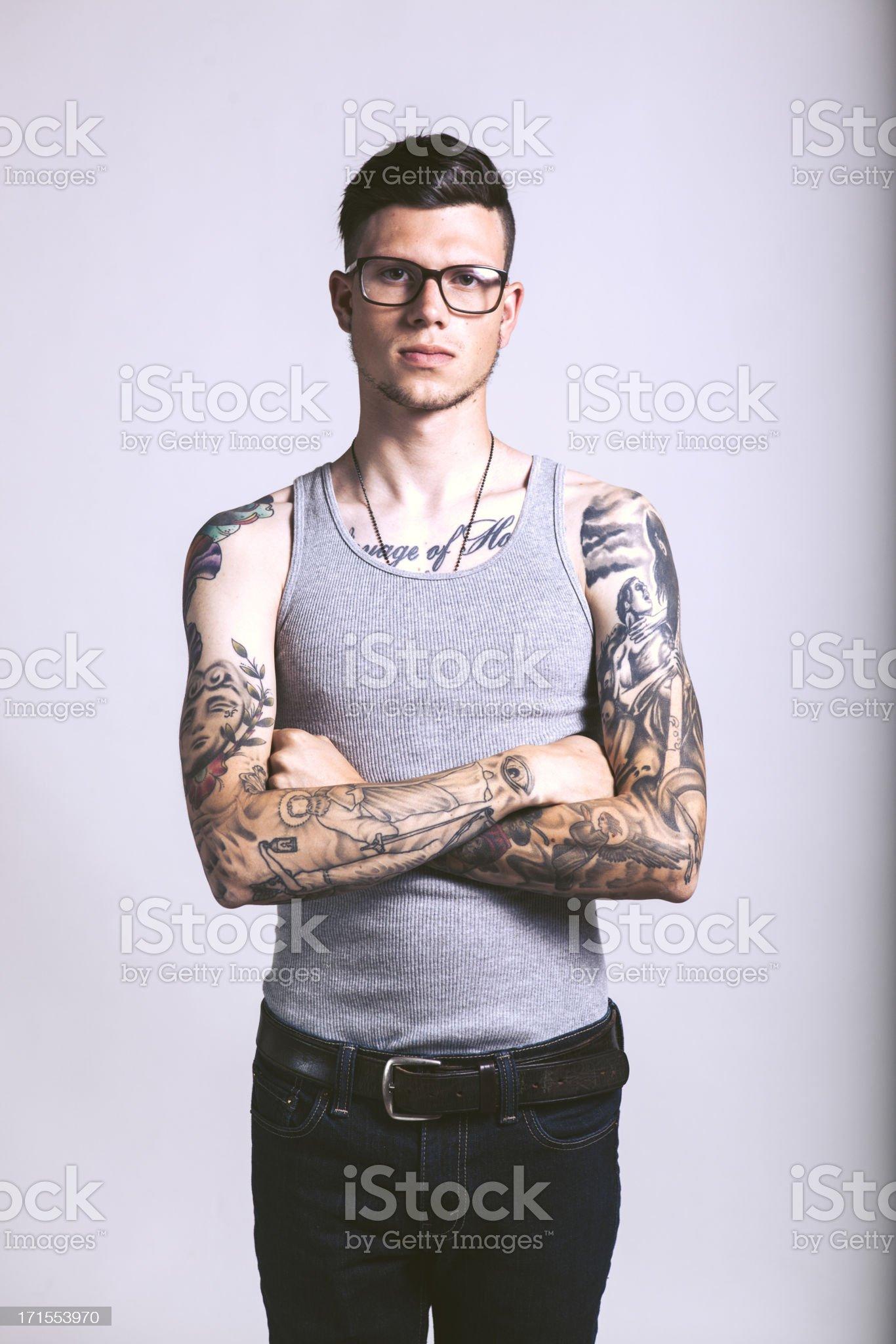 Caucasian Hipster Tattooed Man royalty-free stock photo
