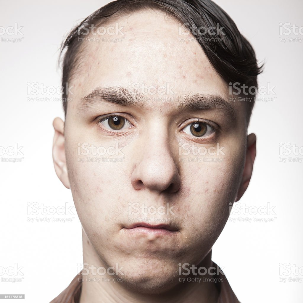 Caucasian Male Close Up Portrait Blank Expression Face Head Shot royalty-free stock photo