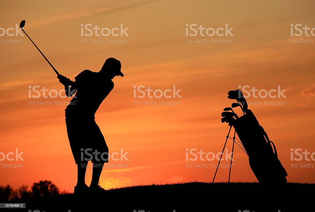 Caucasian Male Teenager Junior Golfer Silhouette royalty-free stock photo