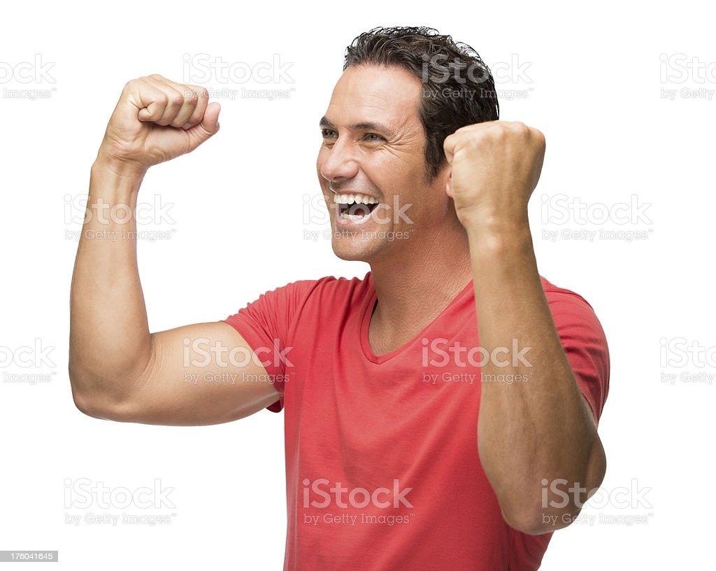 Caucasian man celebrating royalty-free stock photo