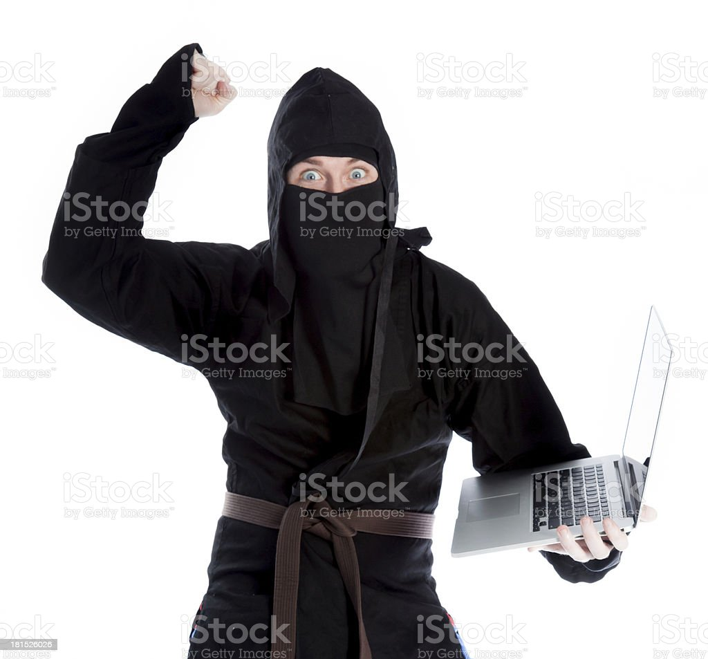 caucasian man disguised as a ninja isolated on white royalty-free stock photo