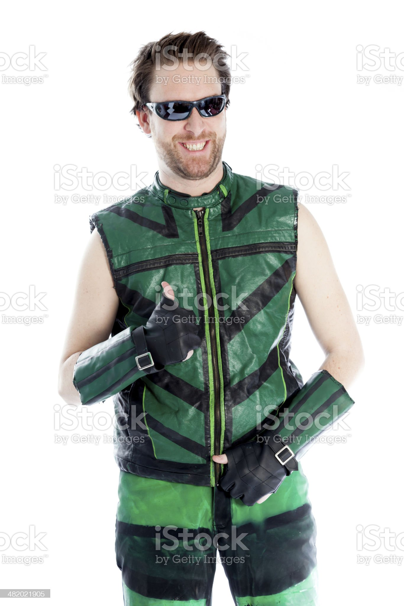 caucasian man disguised as super hero isolated on white royalty-free stock photo