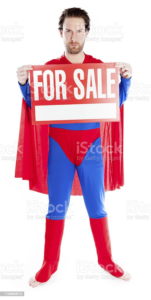 caucasian man disguised as superman isolated on white royalty-free stock photo