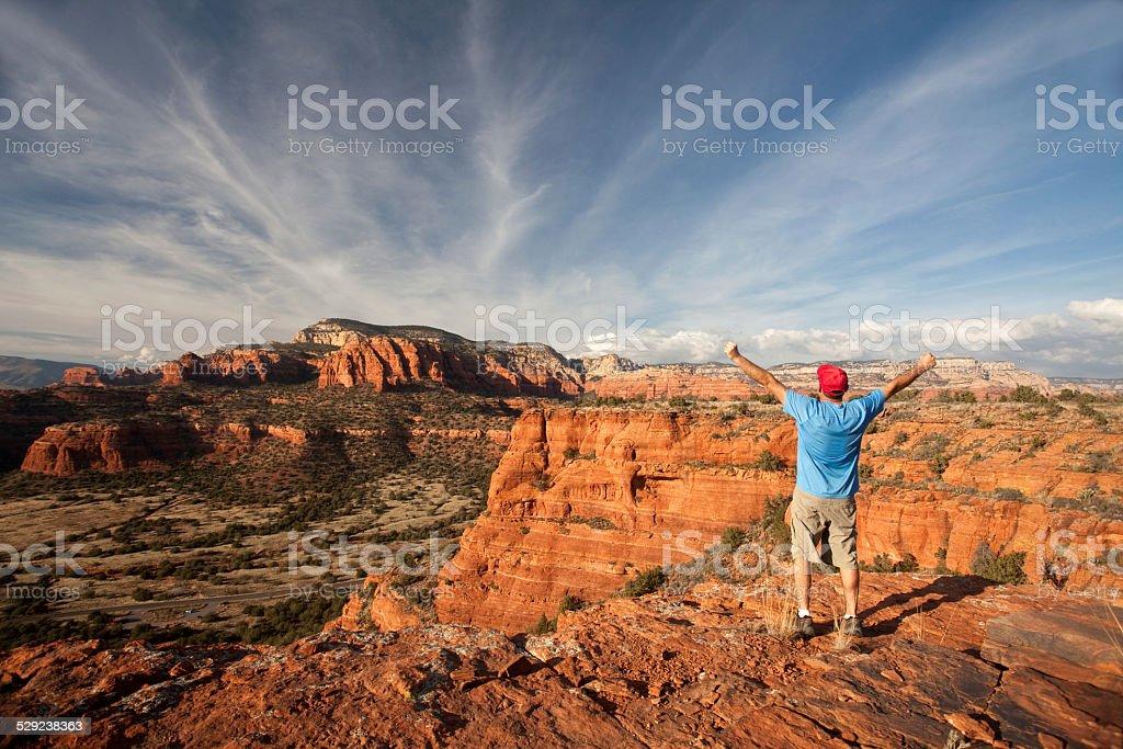 Caucasian Man Hiking in Sedona Arizona stock photo