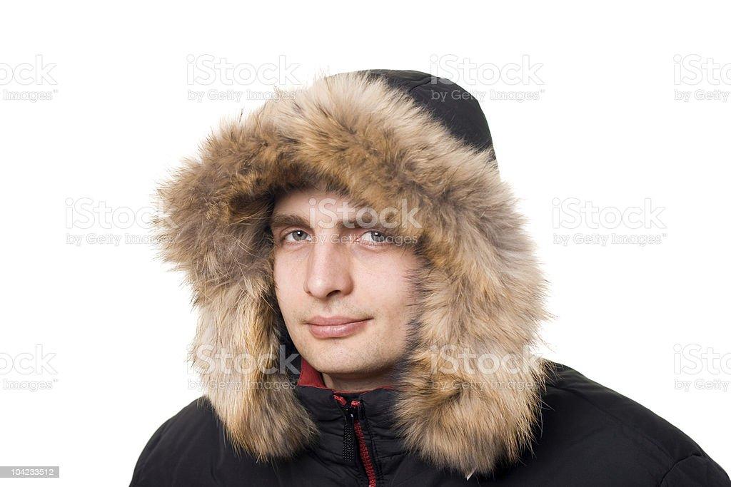 Caucasian man in hood with fur. stock photo