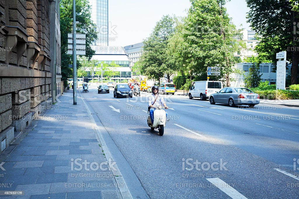 Caucasian man on motorcycle stock photo