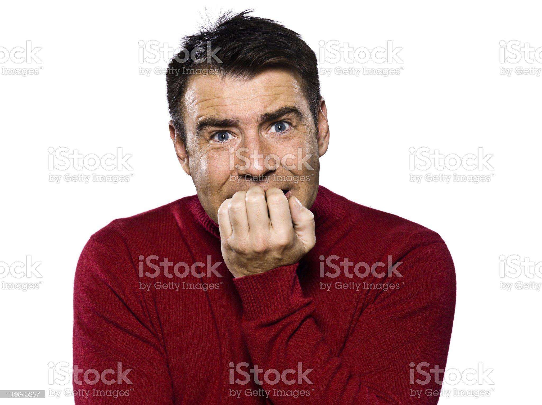 caucasian man portrait afraid fear royalty-free stock photo