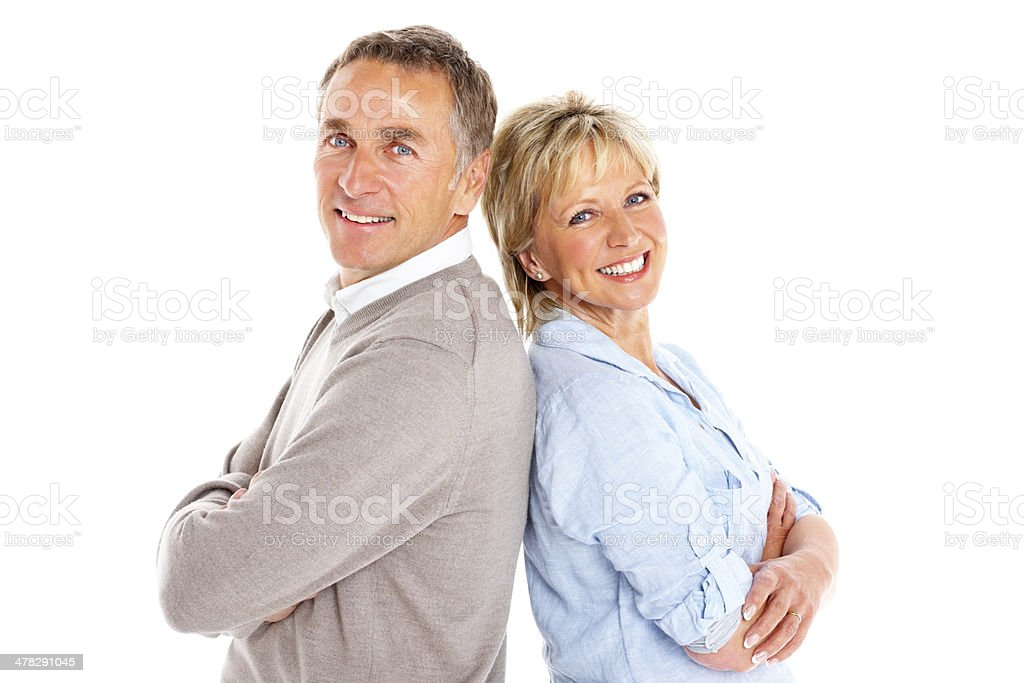 Caucasian mature couple standing on white royalty-free stock photo
