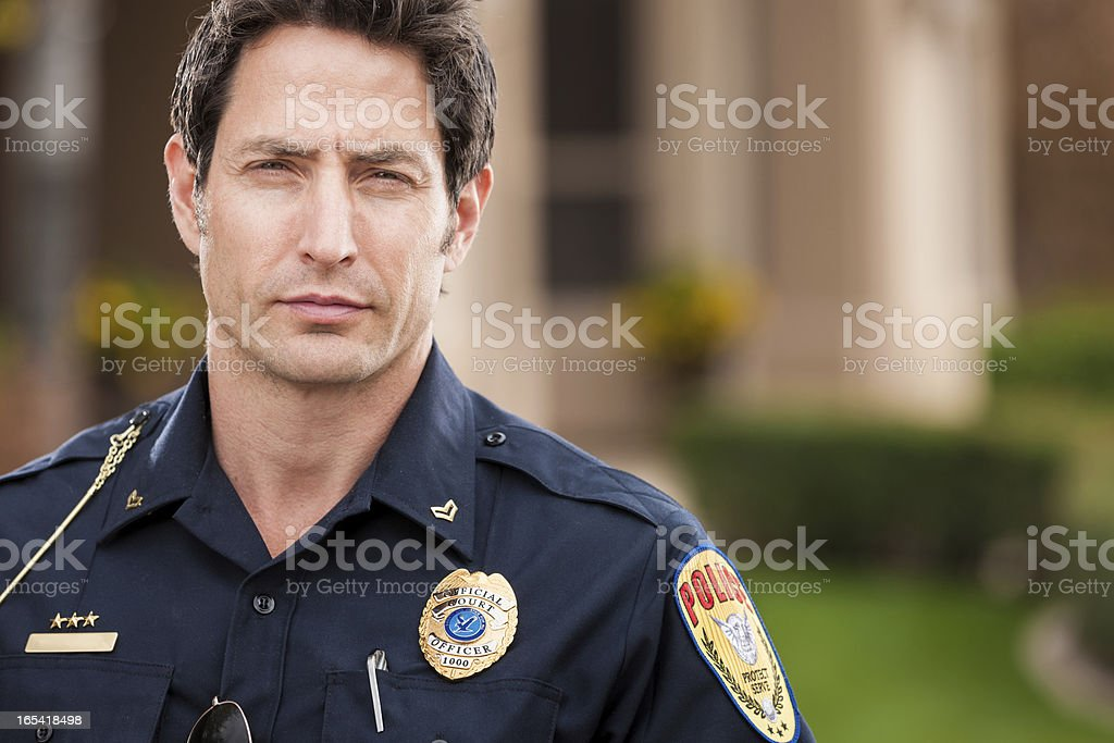 Caucasian Police Officer Portrait stock photo