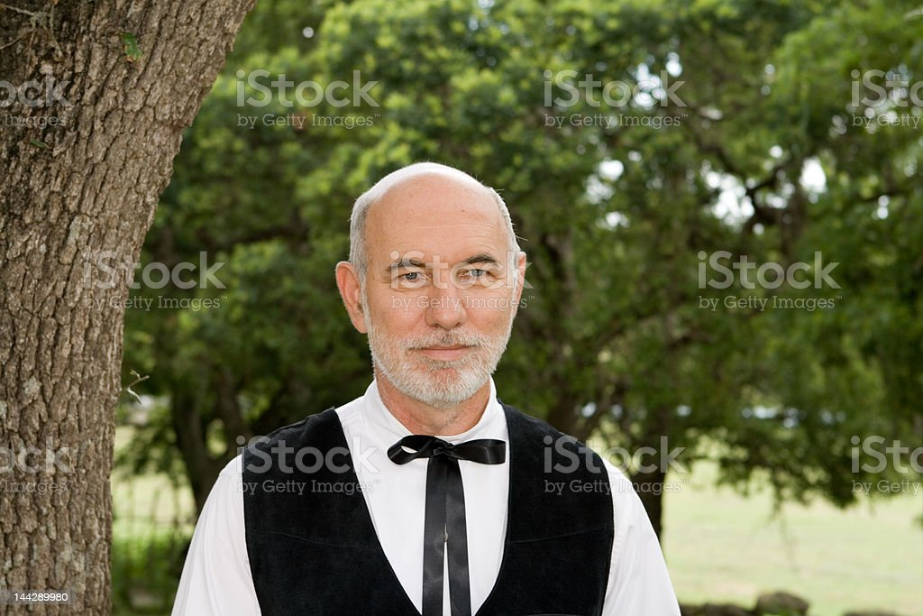 Caucasian Preacher Man Outside Western Tie royalty-free stock photo