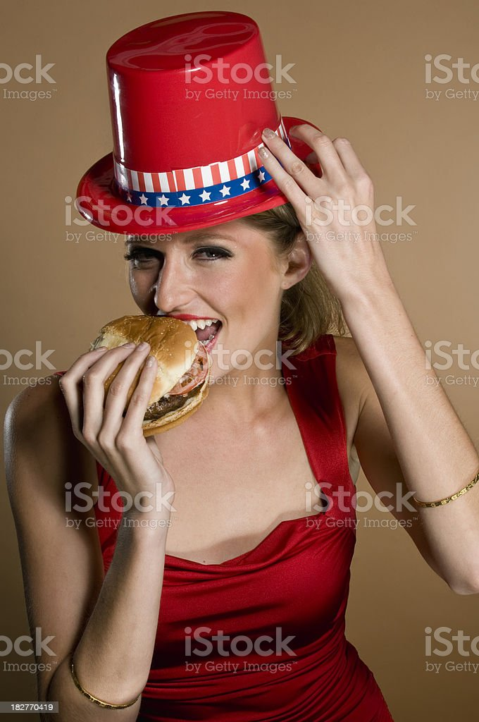 Caucasian Republican Girl having a hamburger royalty-free stock photo