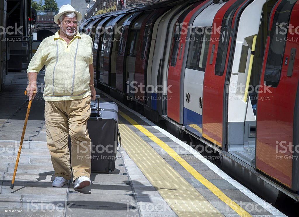 Caucasian senior traveling royalty-free stock photo