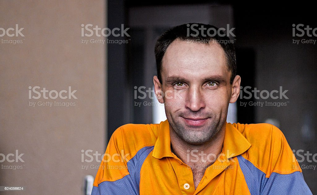 Caucasian sitting at home stock photo