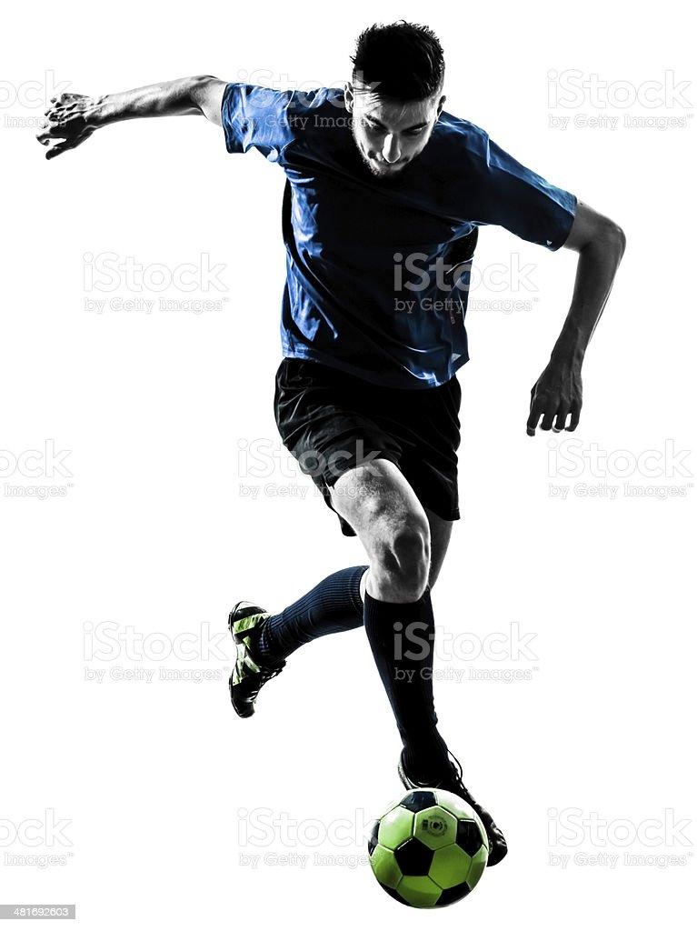 caucasian soccer player man juggling silhouette stock photo