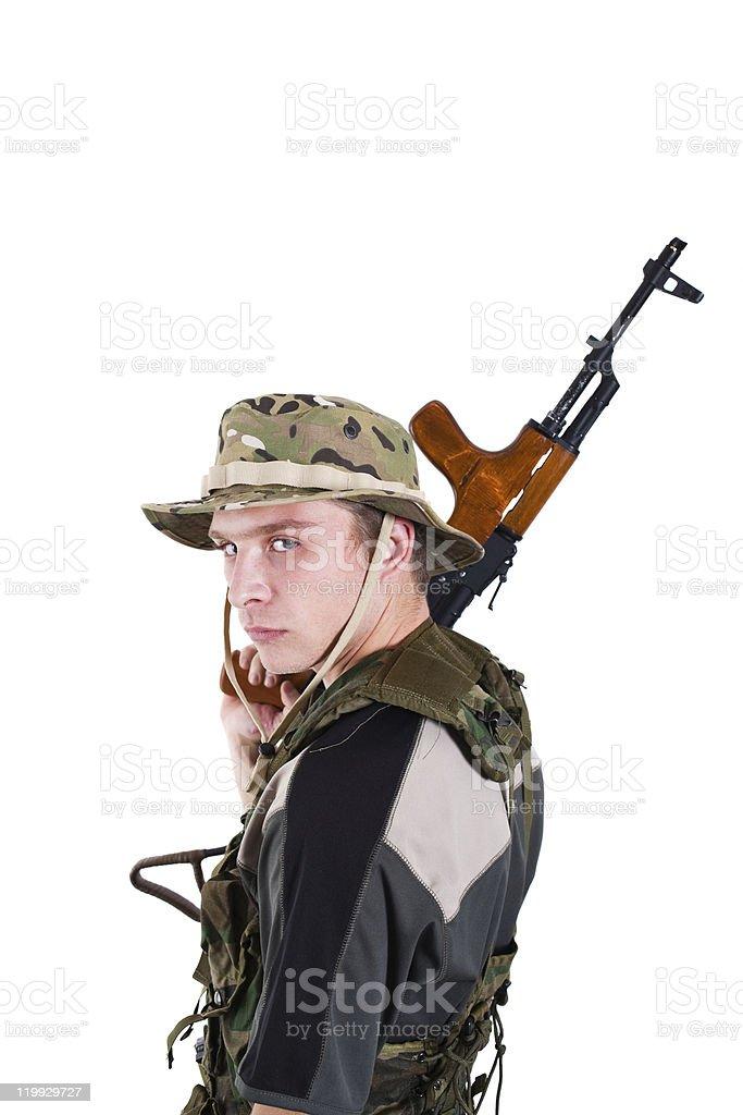 Caucasian soldier stock photo
