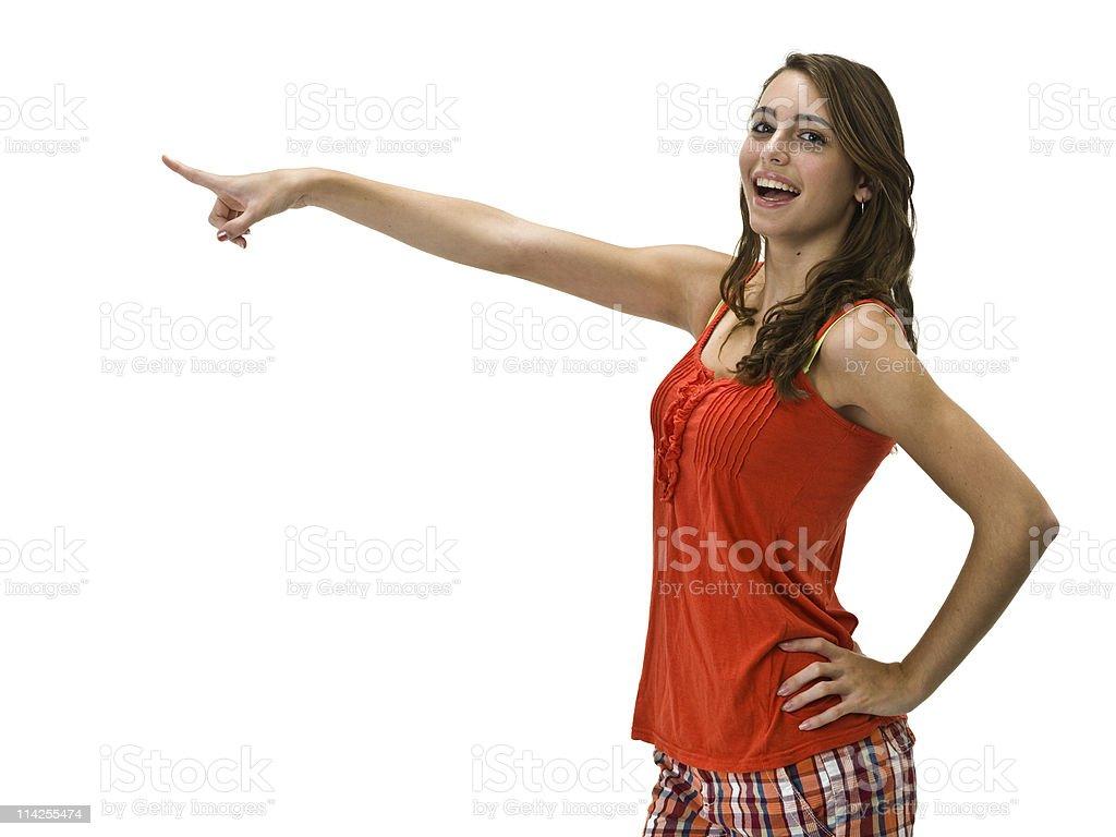 Caucasian teenage girl pointing royalty-free stock photo