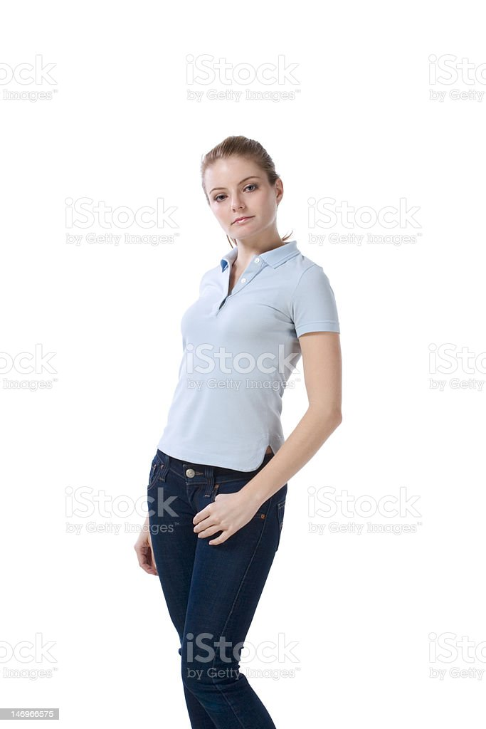 Caucasian teenager in jeans and blue polo t-shirt royalty-free stock photo