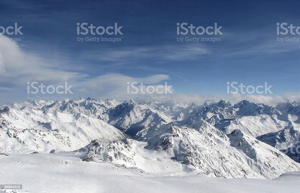 Caucasian view. Sky and Snow. royalty-free stock photo