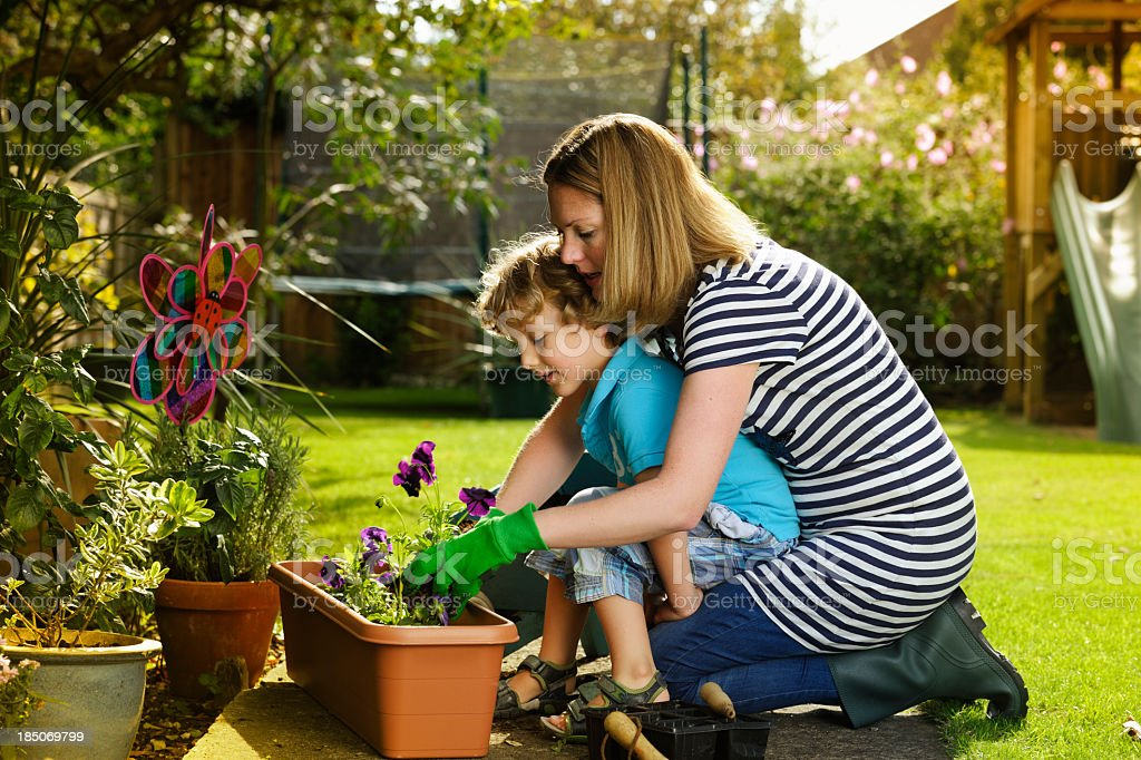 Caucasian Woman And Little Boy Gardening Together royalty-free stock photo