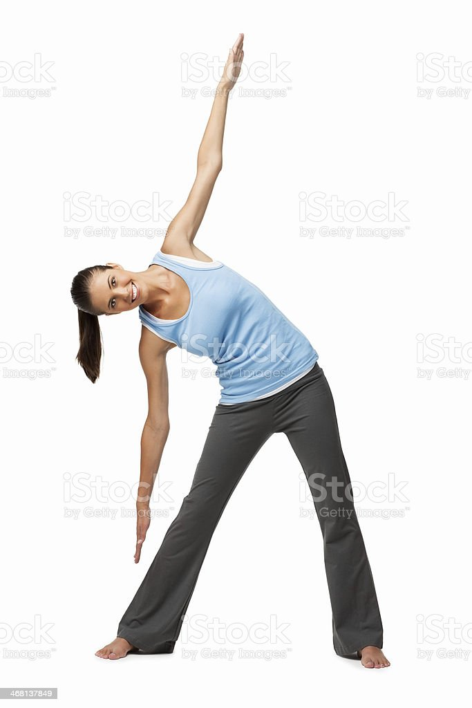 Caucasian Woman Exercising - Isolated royalty-free stock photo