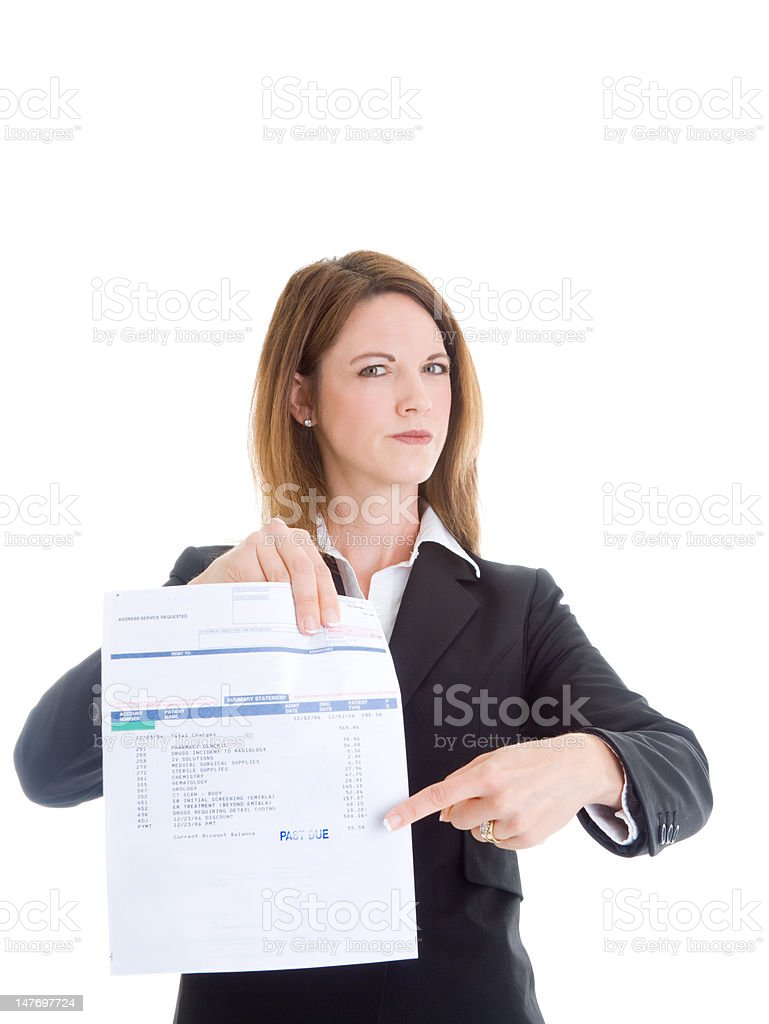 Caucasian Woman Pointing at Past Due Medical Bill Isolated White stock photo