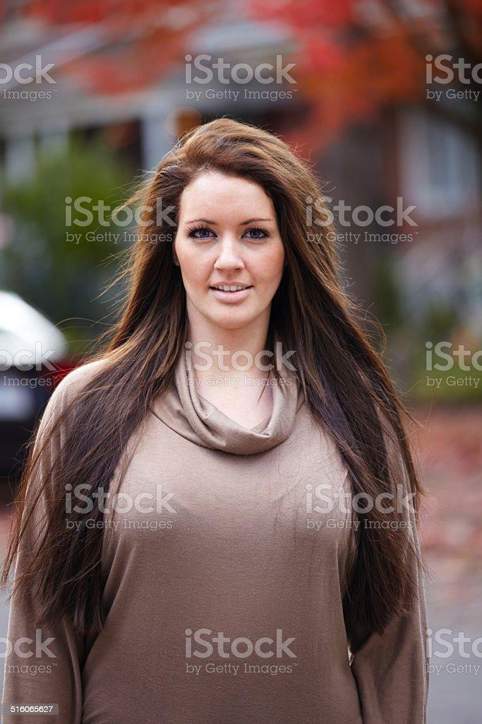 Caucasian woman portrait outdoors stock photo