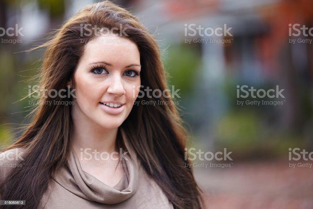 Caucasian woman portrait side profile smiling stock photo