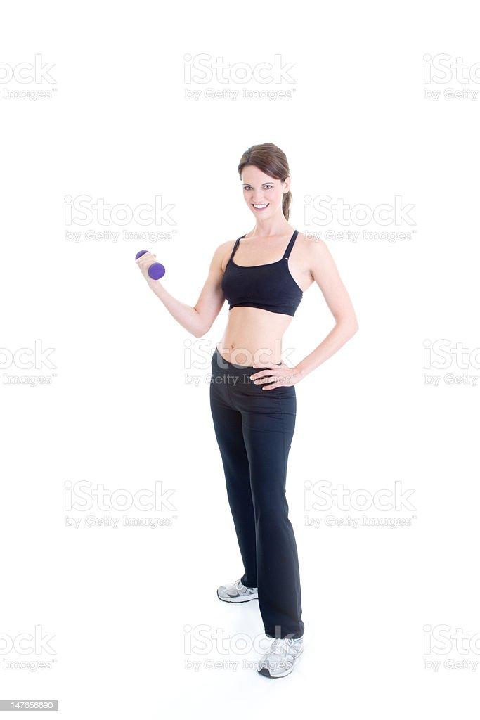 Caucasian Woman Working Out Hand-Weight, Full Body, Isolated White Background stock photo