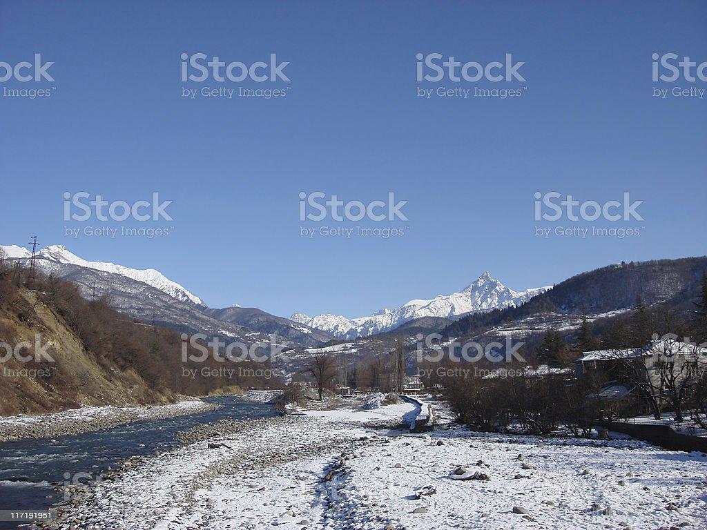 Caucasus Mountains in Gerorgia stock photo