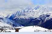 Caucasus mountains under snow
