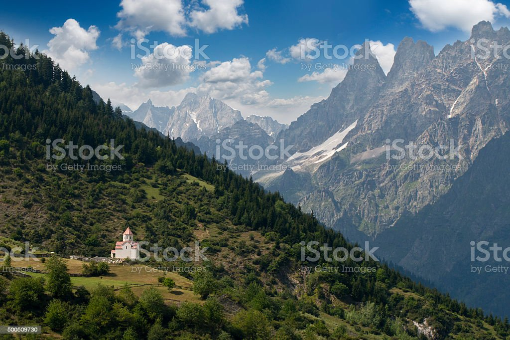 Caucasus mountines with wiew to small church near Mestia stock photo