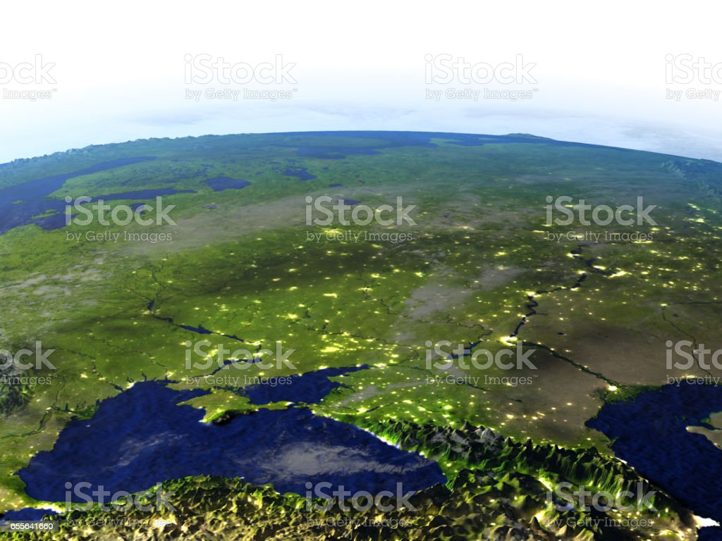 Caucasus region at night on realistic model of Earth stock photo