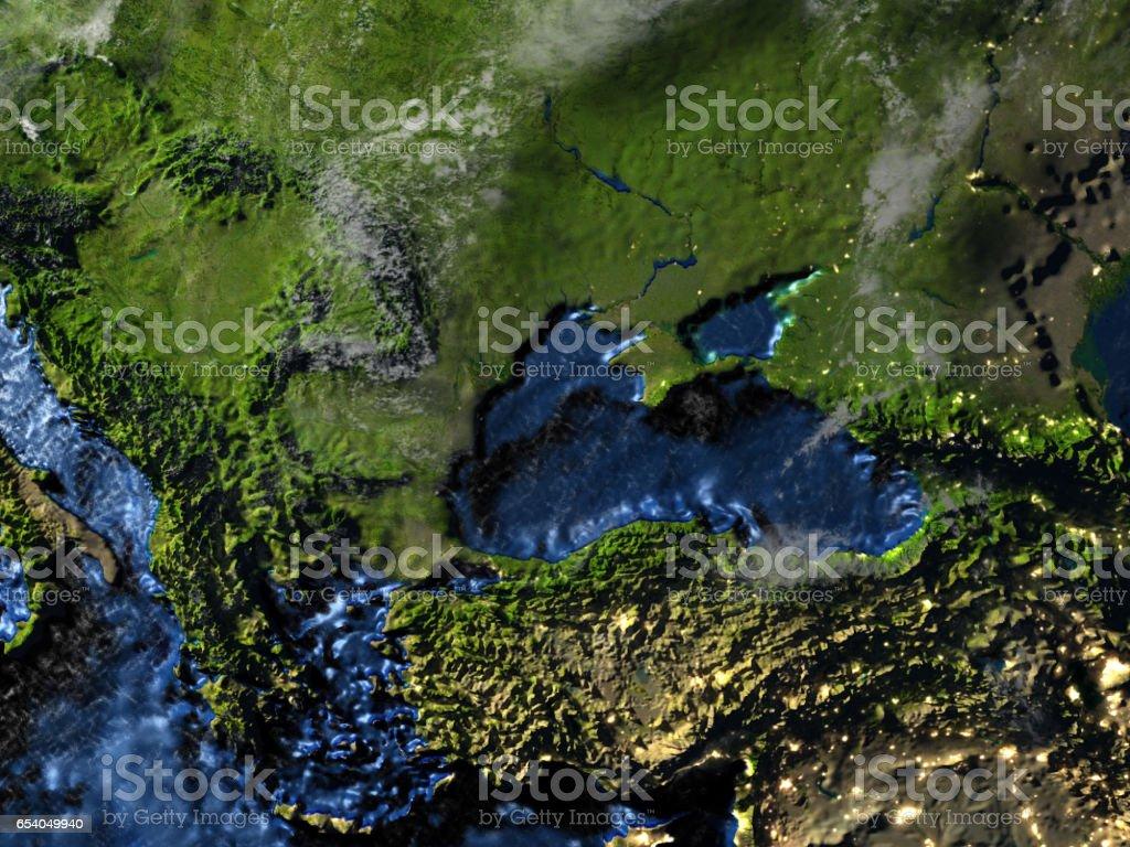 Caucasus region on Earth at night - visible ocean floor stock photo