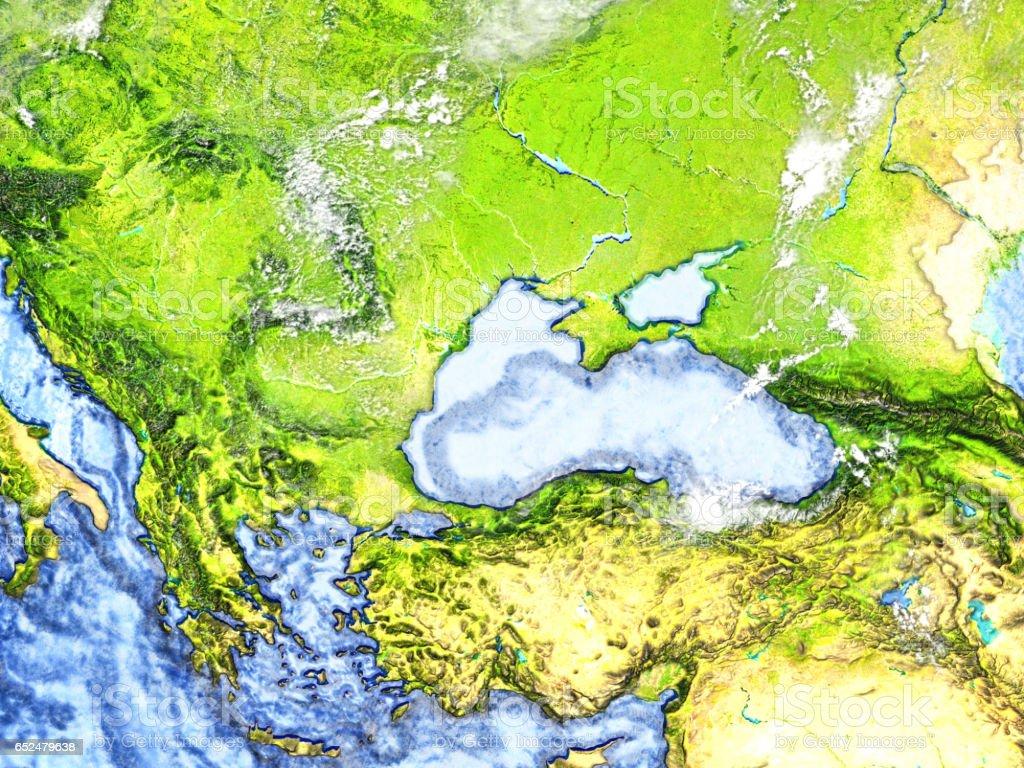 Caucasus region on Earth - visible ocean floor stock photo