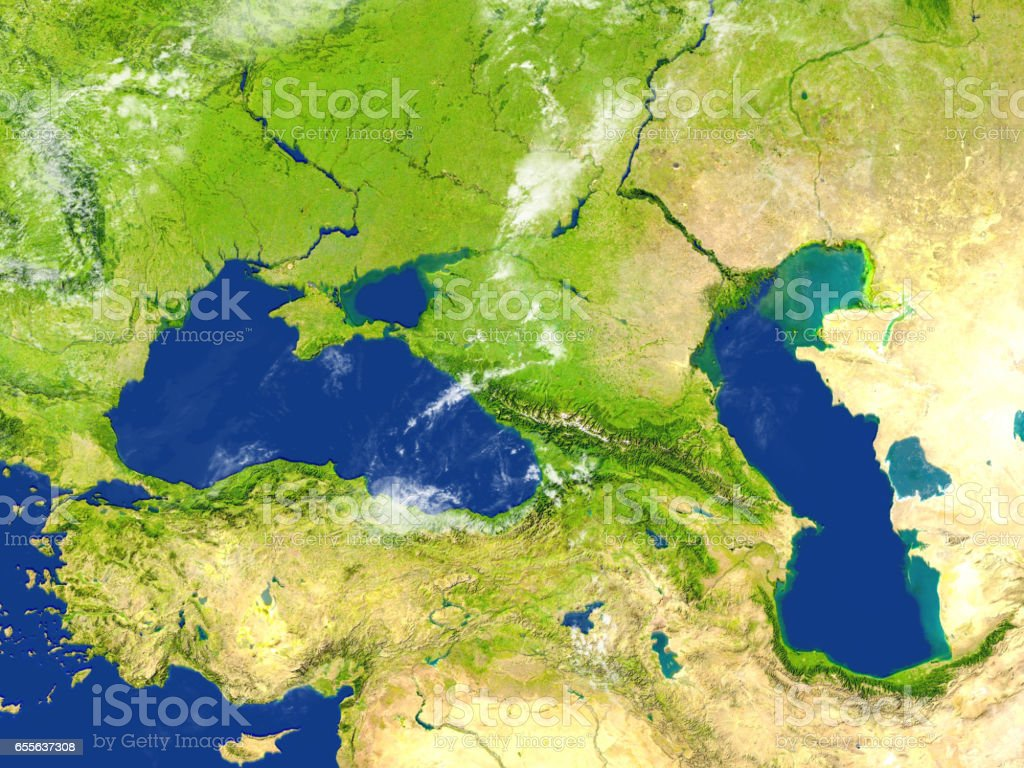 Caucasus region on planet Earth stock photo