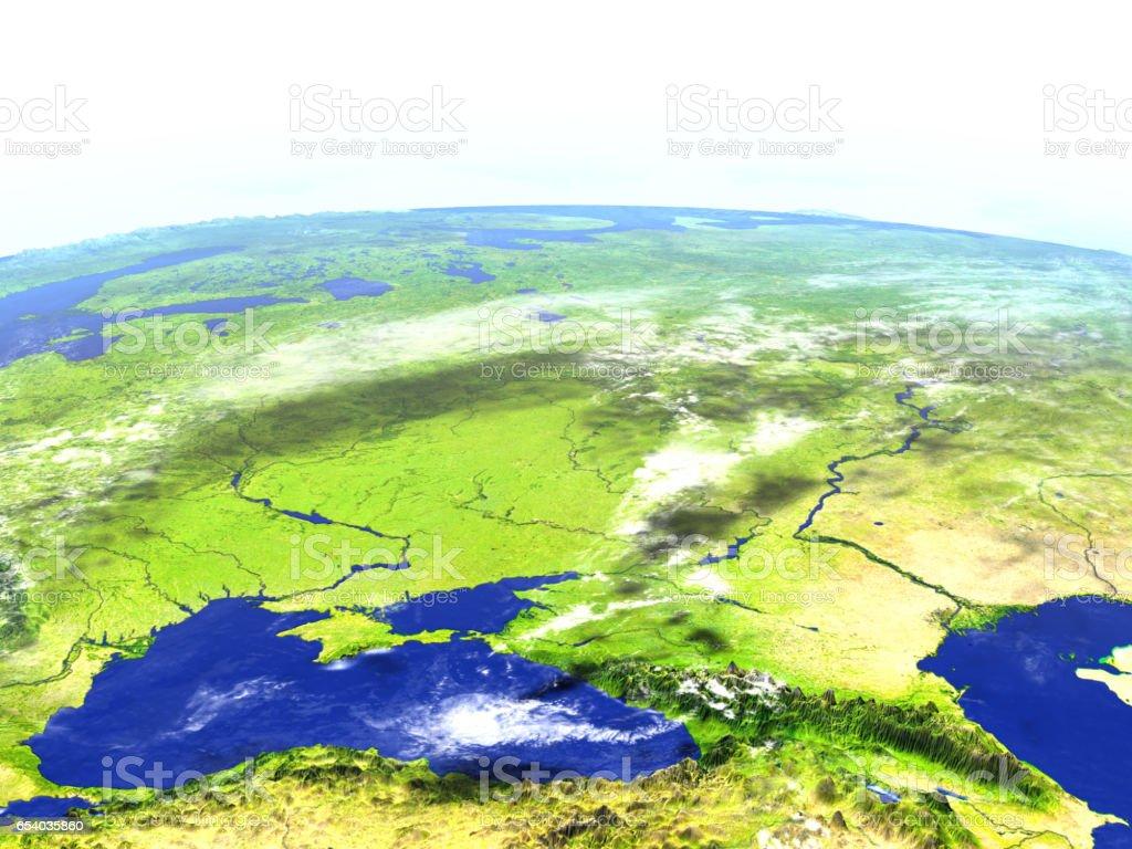 Caucasus region on realistic model of Earth stock photo